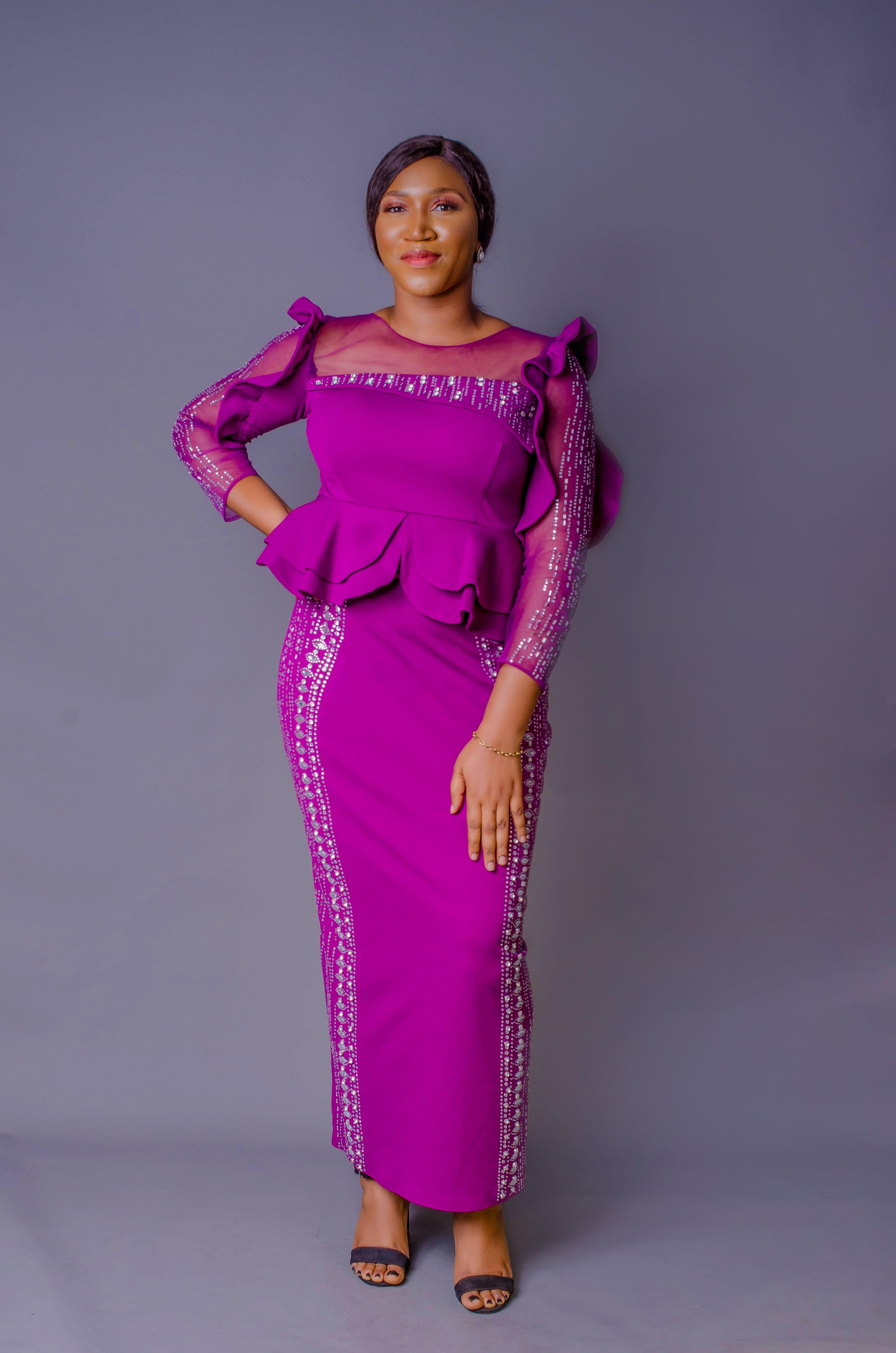 Purple long gown