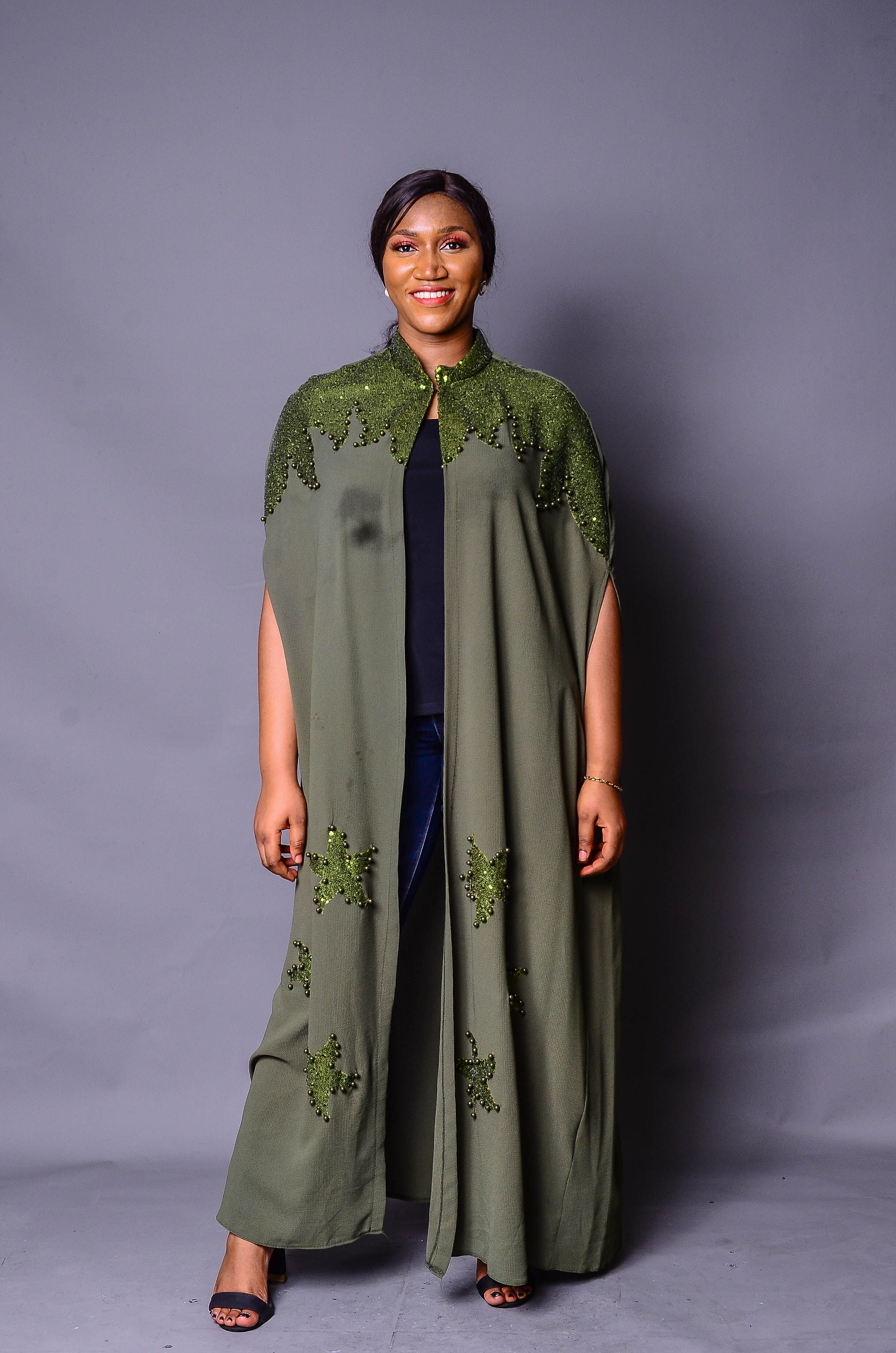 Green Embellished Kimono