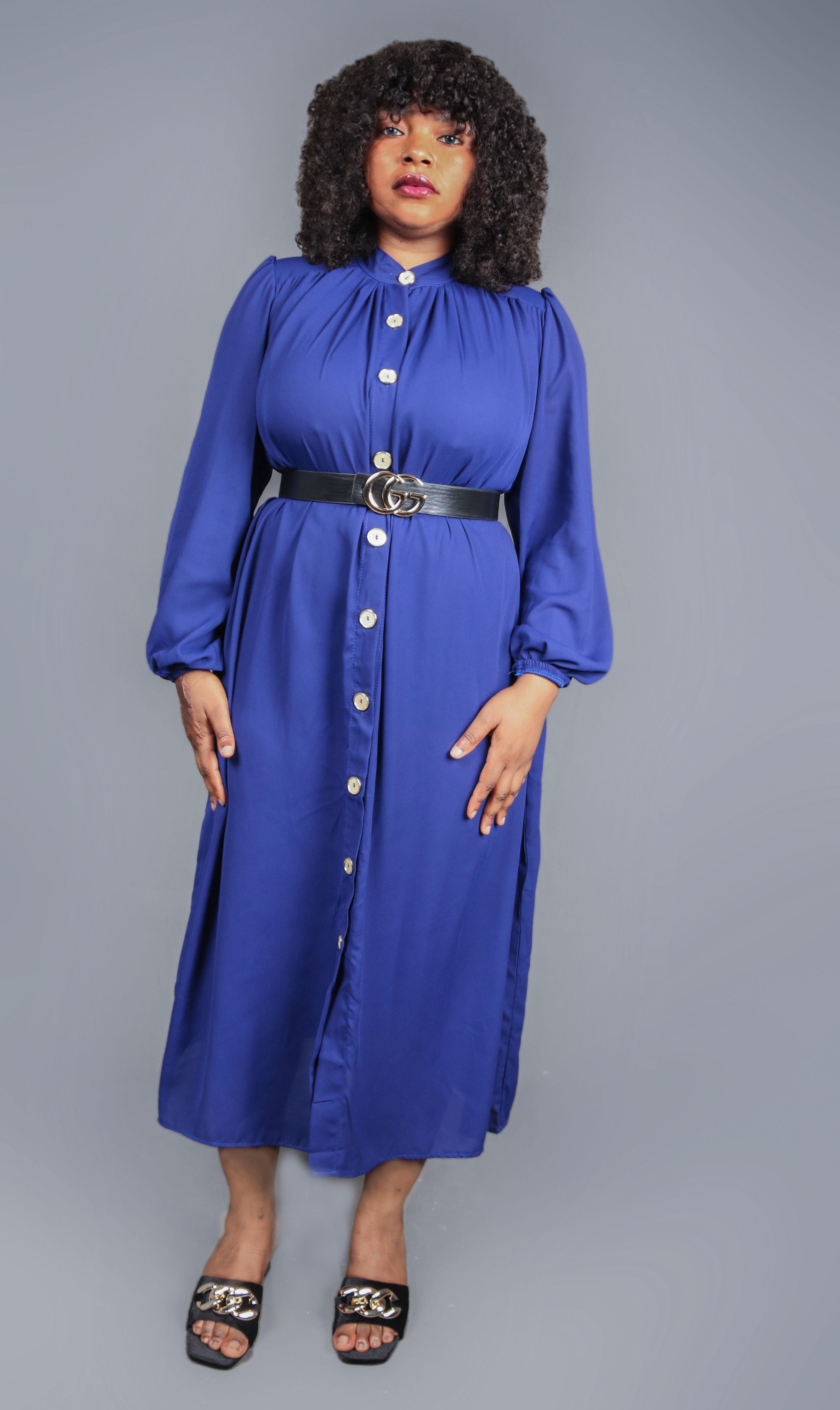 Kimberly Blue Button Down Shirt Dress